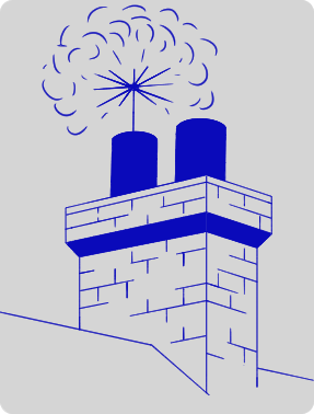 DJ Chimney Sweep Service logo in blue